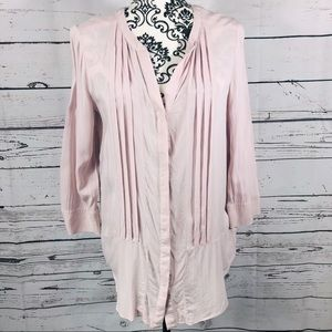 Anthropologie Maeve 3/4 sleeve v-neck Pleat-front tunic blouse top 8